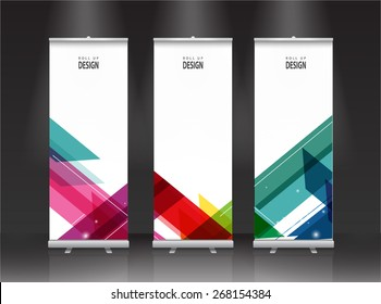 Roll up banner stand design. Vector.