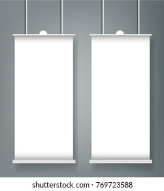 Roll up banner stand mockup cover template. Isolated.