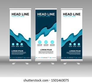 Roll up banner stand. Modern Vertical Flag Banner Design with abstract blue background can be used for Annual Report, Cover, Flyer, Magazine, Presentation, Poster, Website. Vector template design