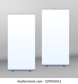 Roll Up Banner Stand on isolated clean background Design template with blank roll up banner display template for designers. Vector set illustration EPS 10