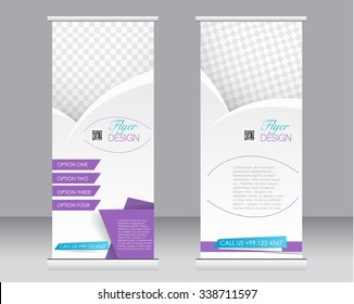 Roll up banner stand template. Abstract background for design,  business, education, advertisement.  Purple and blue color. Vector  illustration.