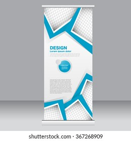 Roll up banner stand template. Abstract background for design,  business, education, advertisement.  Blue color. Vector  illustration