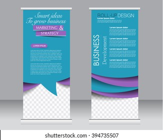 Roll up banner stand template. Abstract background for design,  business, education, advertisement.  Purple and blue color. Vector  illustration