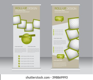 Roll up banner stand template. Abstract background for design,  business, education, advertisement.  Green color. Vector  illustration