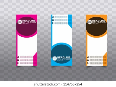 Roll up banner stand template design vector
