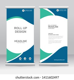 Roll up banner stand template design. Vertical banner template. Universal stand for conference, seminar, exhibitions, promo banner vector background. Modern publication x-banner and flag-banner.