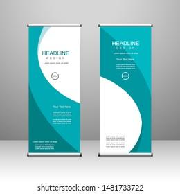 Roll up banner stand template design, for brochure, flyer, infographics. modern advertising. vector illustration