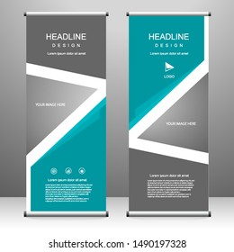 Roll up banner stand template design, for brochure, flyer, infographics. modern advertising. vector illustration