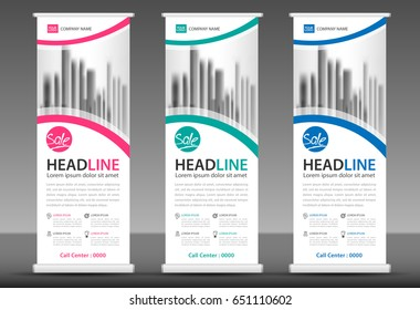 roll banner stand template design blue のベクター画像素材
