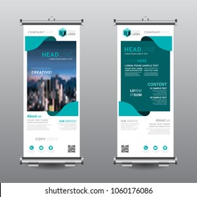 Roll up banner standee business brochure template design. Exhibition advertising presentation abstract geometric background, Cover modern flag, Flat style vector illustration artwork rectangle size.