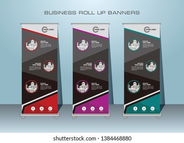 Roll up banner, standing banner design print template