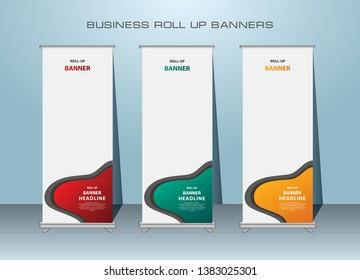 Roll up banner, standing banner template design.