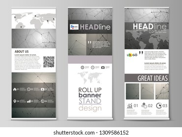 Roll up banner stands, flat design templates, geometric style, corporate vertical vector flyers, flag layouts. Chemistry pattern, molecule structure on gray background. Science and technology concept.