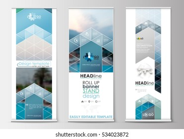 Roll up banner stands, flat design, abstract geometric templates, modern business layouts, corporate vertical vector flyers. Blue color travel decoration, easy editable, colorful natural landscape