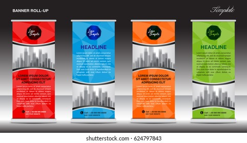Roll Up Banner template, stand design, advertisement, display, business flyer, vector illustration