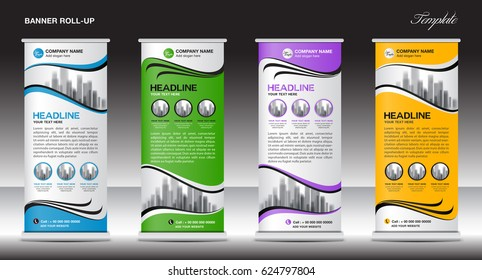 Roll Up Banner template vector illustration,polygon background ,standy design , display,advertisement