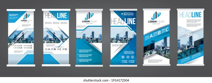 Roll up banner vector illustration. blue roll up banner stylish geometric graphics for Publicity and Information. set of templates. Design concept presentation or advertising banner