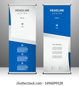 Roll up banner vertical template design, for brochure, business, flyer, infographics. modern x-banner and flag-banner advertising. vector illustration