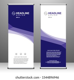 Roll up banner vertical template design, for brochure, business, flyer, infographics. modern x-banner and flag-banner advertising. vector illustration