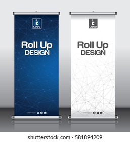 Roll up brochure flyer banner design template vector, abstract triangle line pattern background, modern x-banner, rectangle size.