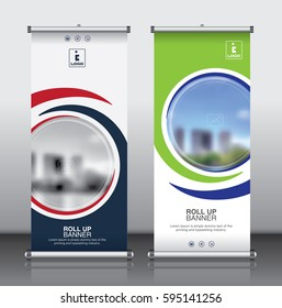 Roll up brochure flyer banner design template vector, abstract background, modern x-banner, rectangle size.