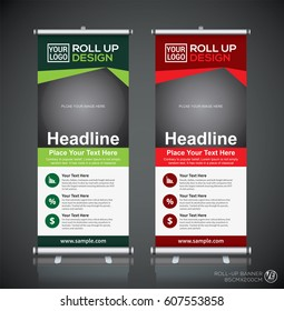 Roll up brochure flyer banner design template, abstract background, pull up design, modern x-banner, rectangle size.