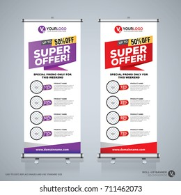 Roll up brochure flyer banner design template, abstract background, pull up design, modern x-banner and flag-banner, rectangle size.