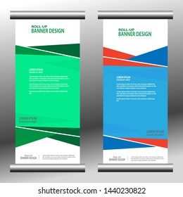 Roll the buffer banner template. for design, business, education, marketing advertising. Vertical information board design. abstract background. vector illustration. dominant in blue.