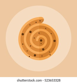 roll bun with cinnamon flat icon.