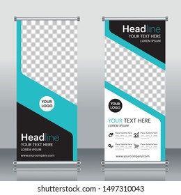 Roll up business banner design template vector, abstract geometric background, modern publication display and flyer banner, layout in rectangle.