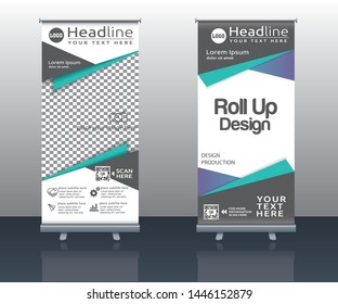 roll up business brochure flyer banner design vertical template vector, cover presentation abstract background, modern publication and flag-banner.