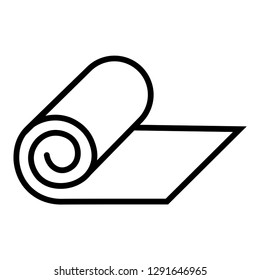Roll of camping or fitness carpet icon vector image