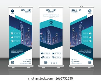 Roll Up Design. Banner Template. Presentation and Brochure Flyer. Vector illustration