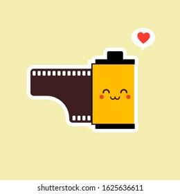 roll film flat design vector illustration. kawaii camera roll film emoji with funny expression, analog camera cartoon. analog photography icon, analogue photography mascot. vintage film