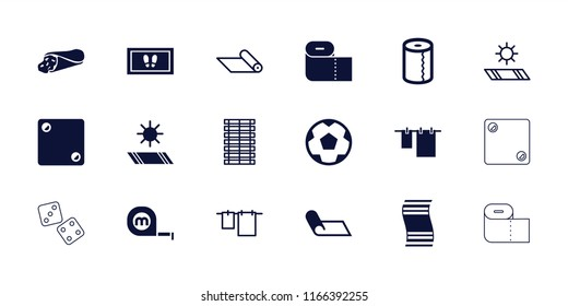 Roll icon. collection of 18 roll filled and outline icons such as wrap sandwich, cloth hanging, jalousie, carpet, carpet in the sun. editable roll icons for web and mobile.