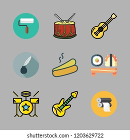 roll icon set. vector set about drum set, hot dog, drum and electric guitar icons set.