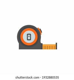 Roll Meter in flat trendy. Hand meter tool, construction meter, tape measure icon isolated on white background. Stationary for carpenter in cartoon style. Vector illustration
