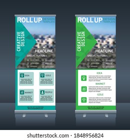 Roll up , pull up , x banner modern abstract design vector