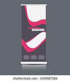 Roll up stand template. Vectical banner layout design for advertisement, presentation, business, education. Pink and grey color. Vector illustration.