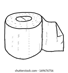 roll of tissue paper cartoon / black and white vector and illustration, hand drawn, sketch style, isolated on white background.
