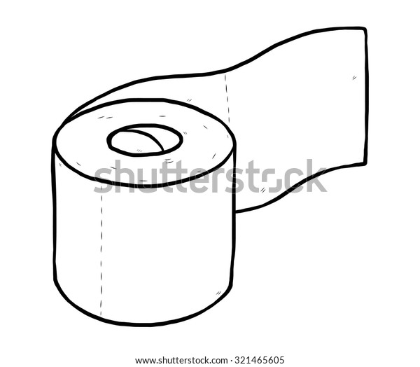 roll of tissue paper / cartoon vector and illustration, black and white, hand drawn, sketch style, isolated on white background.