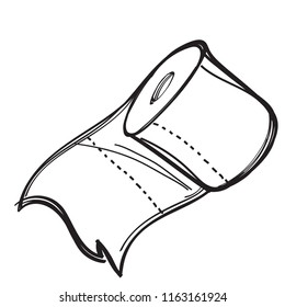A roll of toilet paper contour illustration for coloring. Template for tattoo.
