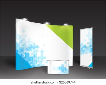 Roll up and trade show booth for designers vector