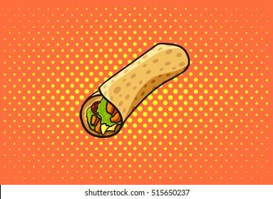 Roll vector, chicken roll, fast food, doner kebab, shawarma