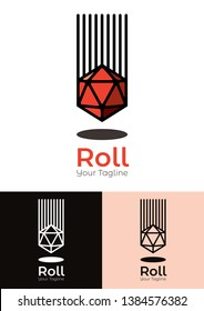 Roll vector logo template is a logo template showing a dice of 20 sides falling into a table. Can be used to all business related to tabletop or role playing games, podcast, blogs, vlogs,etc.