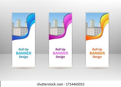 Redoblar banner vertical, plantilla de diseño empresarial, ilustración vectorial