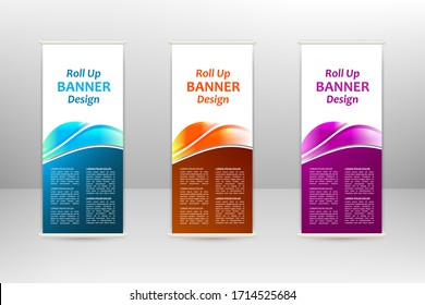 Roll up vertical banner, business design template, vector illustration