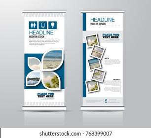 Roll up vertical banner template. Stand panel design. Business corporate concept brochure or flyer. Vector illustration. Blue color.