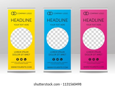 Roll up - vertical banners design with circular space for photo or picture. Bright colors - yellow, blue, pink. With icons - address, email, phone. Set.  Vector eps 10