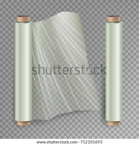 c1eff5908d6 Roll Of Wrapping Stretch Film Vector. Opened And Closed Polymer Packaging.  Cellophane